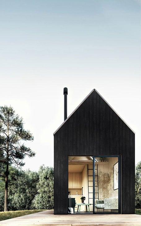 maison bois brûlé