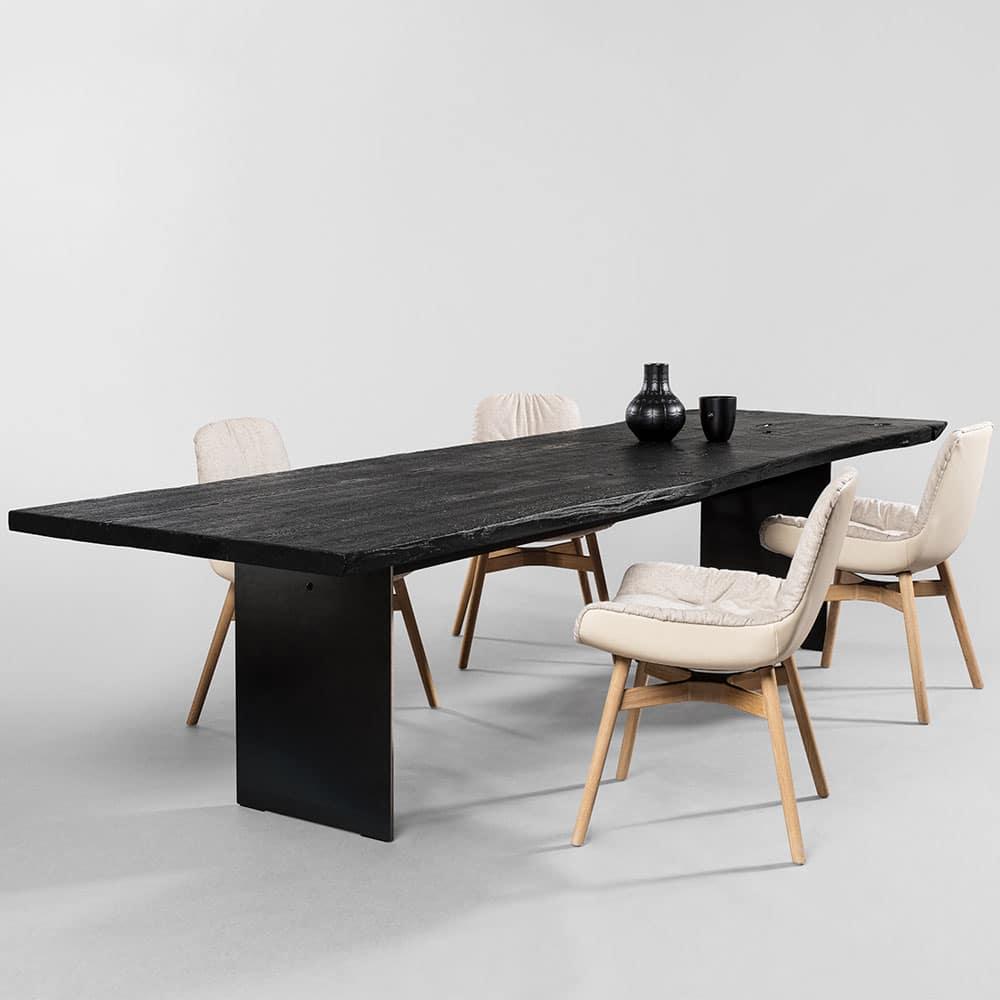 table bois brûlé