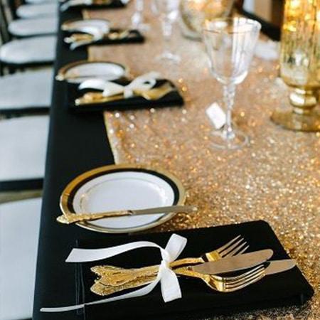 déco table noire et or