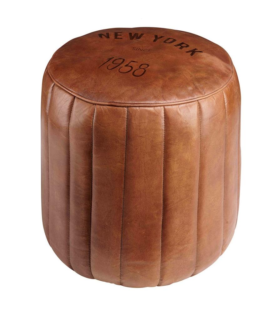 ASHER - Pouf en cuir