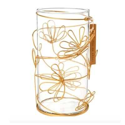 Bougeoire en verre et décor filaire