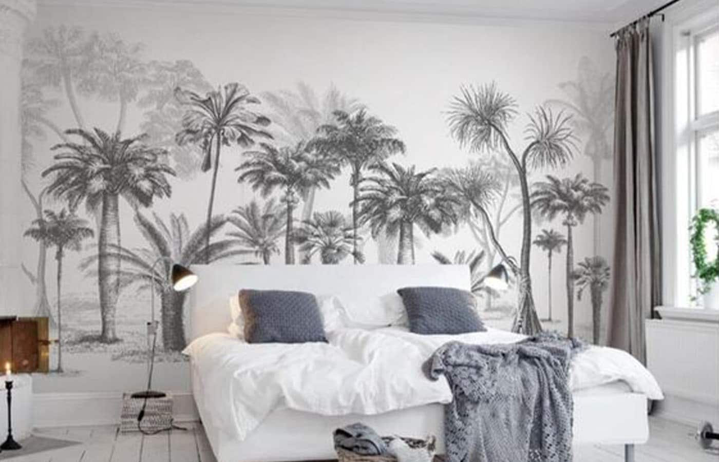 Chambre avec papier peint