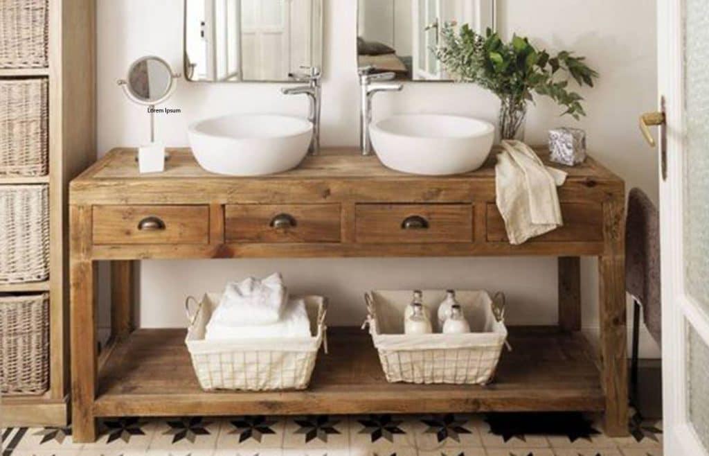 meuble salle de bain rustique