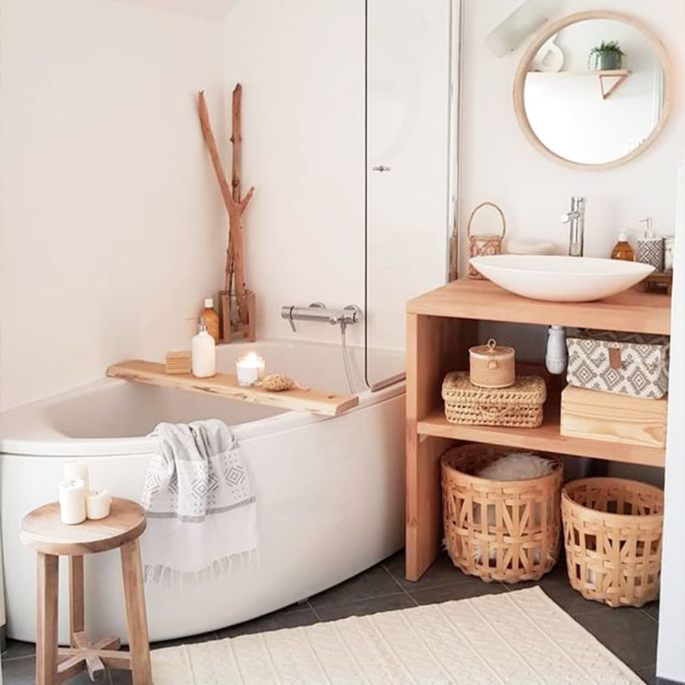 salle de bains déco bois