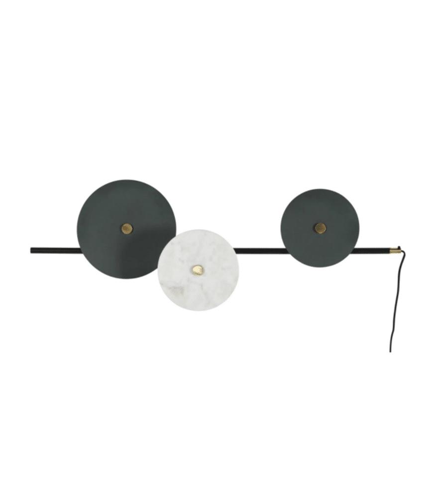 ALEMBERT applique 3 disques en metal et marbre