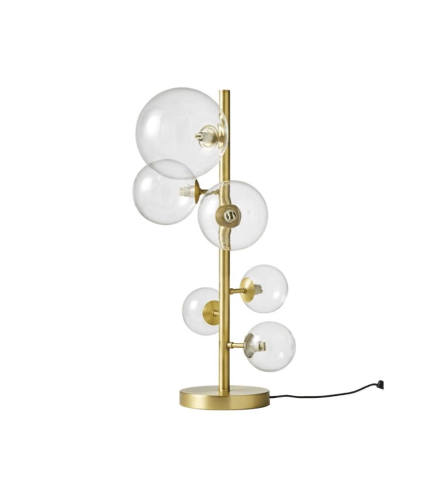 ATOME lampe 6 globes en verre et métal doré