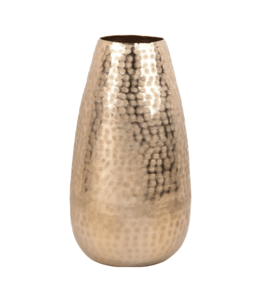 Vase aluminium doré martelé