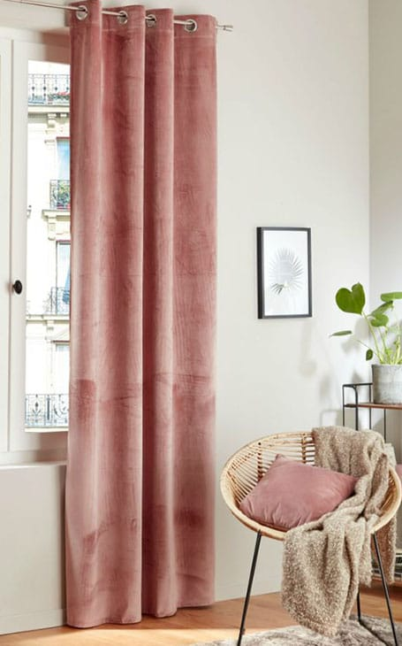 déco rideaux velours rose