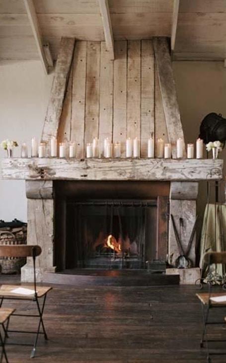 bougies cheminée rustique