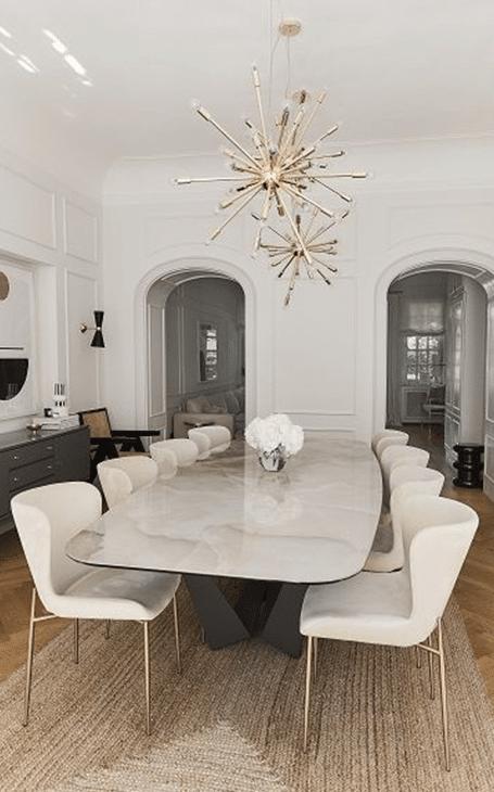 salle à manger tendancevelours et marbre