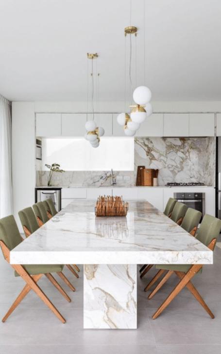 déco design salle à manger marbre