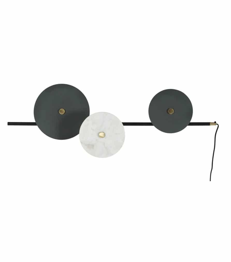 ALEMBERT - Applique 3 disques en métal et marbre