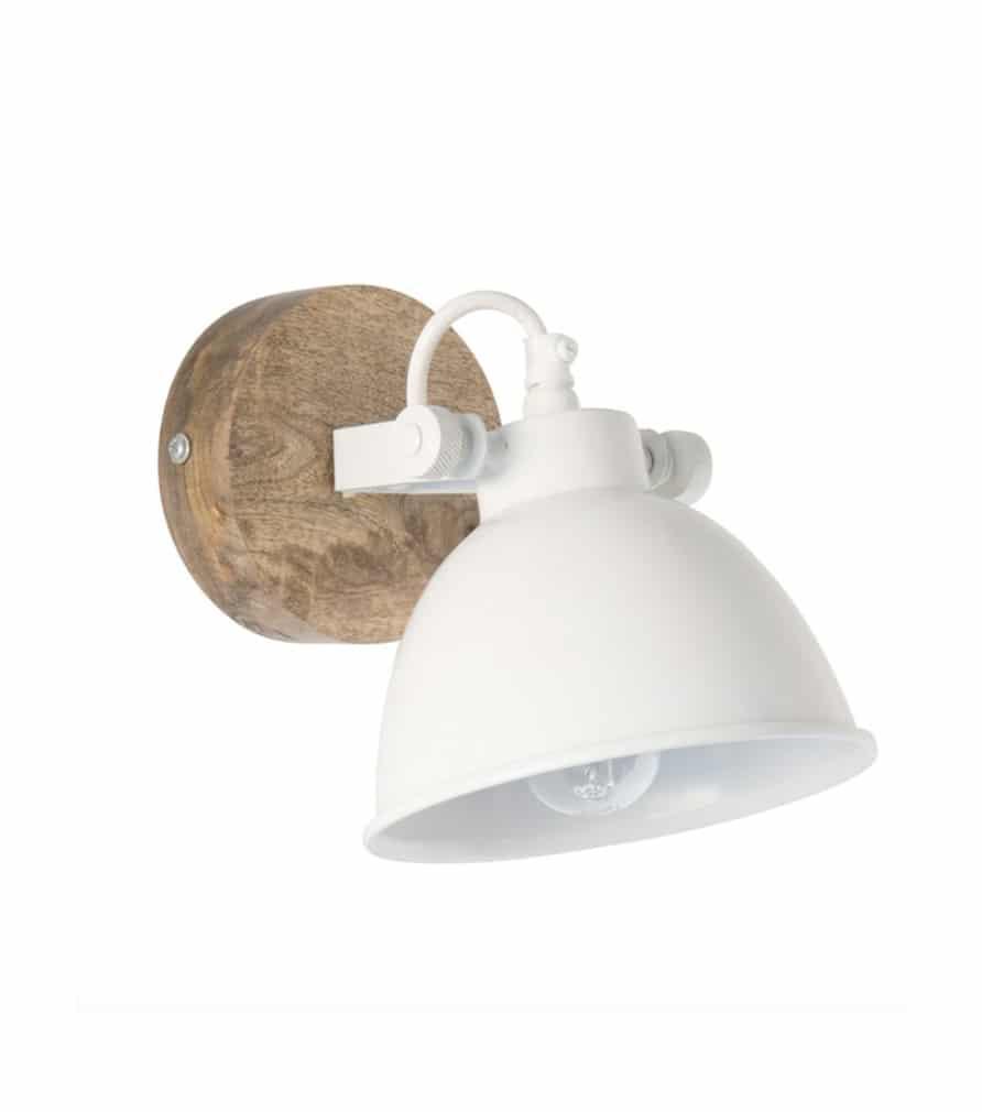 VESTFOLD - Applique en métal blanc et manguier
