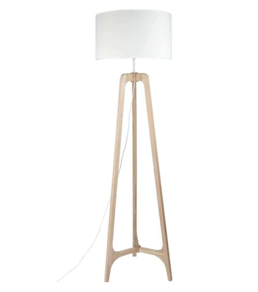 Lampadaire bois et blanc