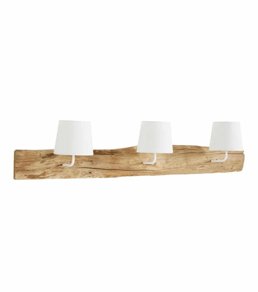 REFUGE - applique triple blanc et bois