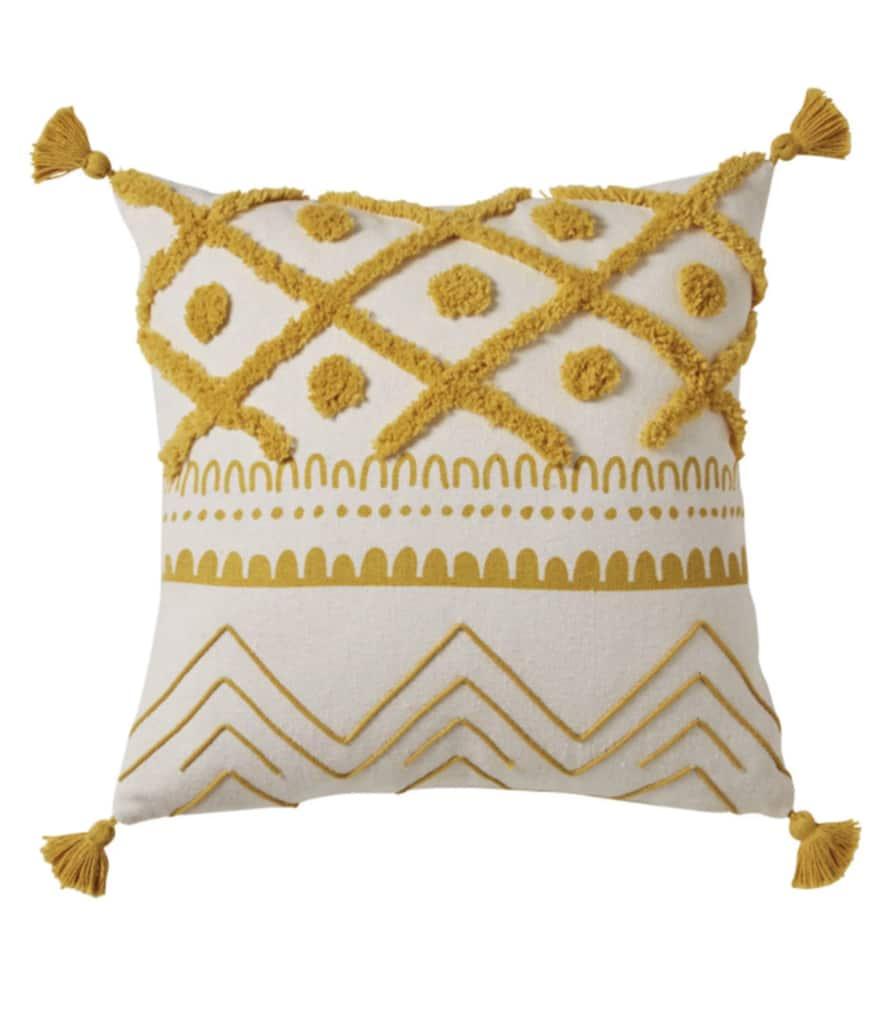 Coussin motifs jaune moutarde