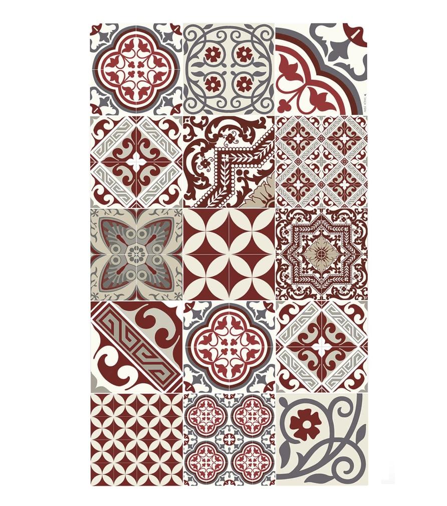 Tapis en vinyle motifs carreaux de ciment rouge