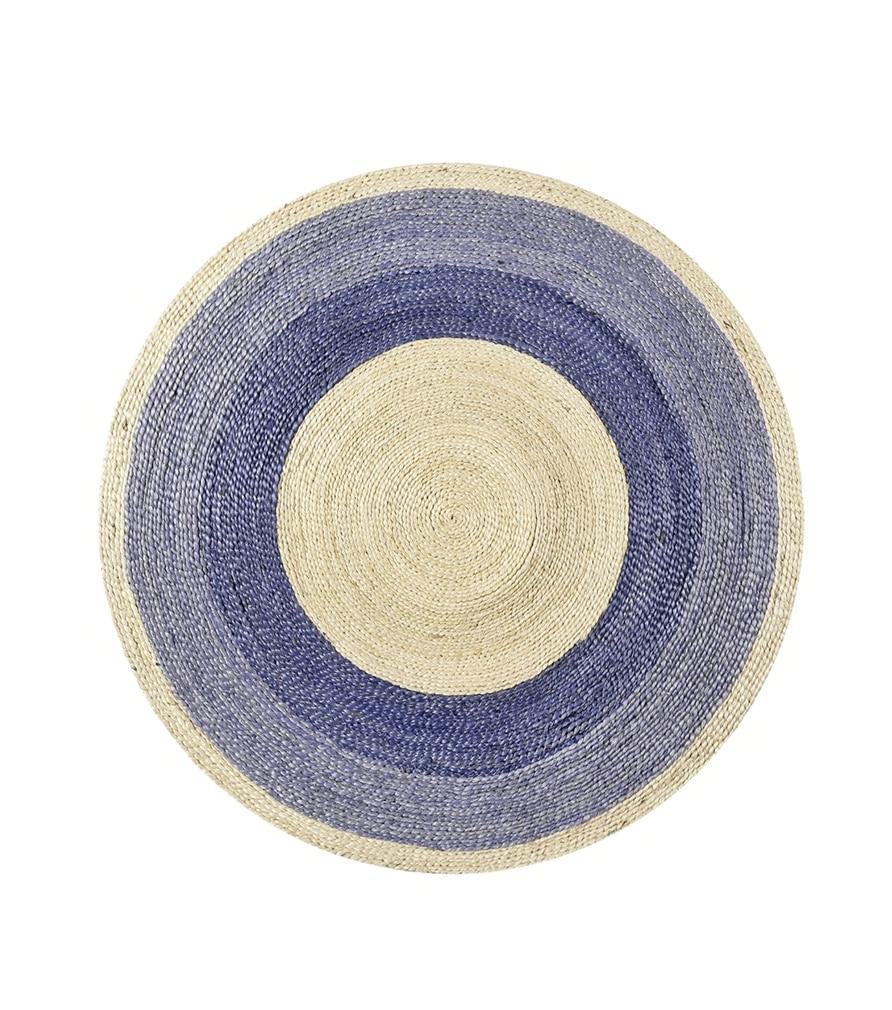 Tapis rond en jute tressée caturelle et bleu