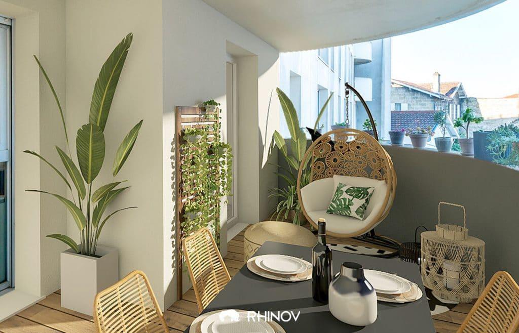 aménagement balcon plantes