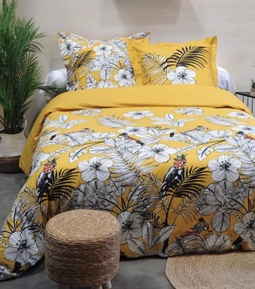 Parure de lit coton jaune