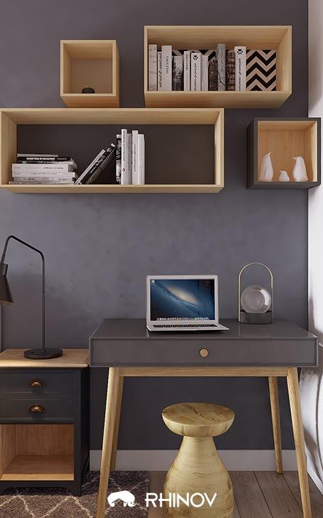 bureau gris et blanc
