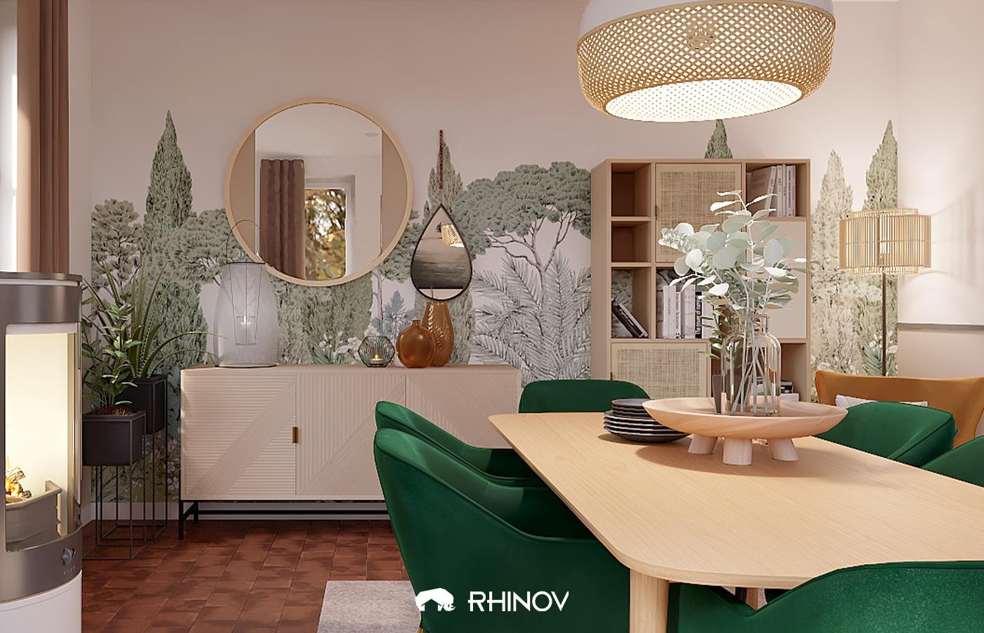 déco papier peint salle à manger
