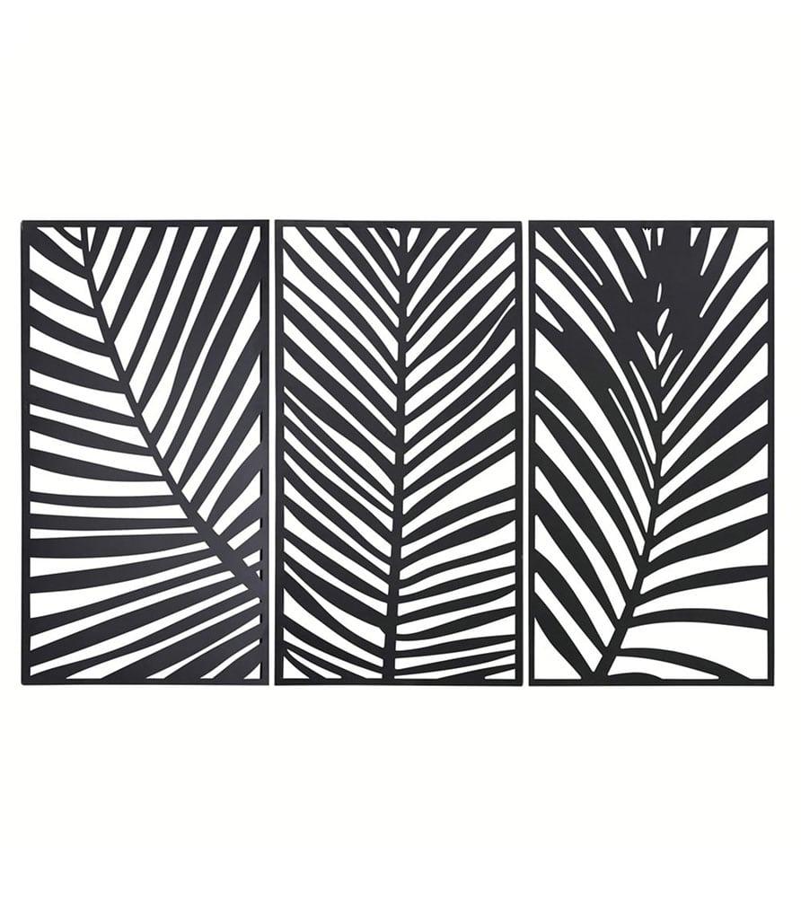 TOBAGO - Triptyque feuilles de palmiers en métal noir 144x90