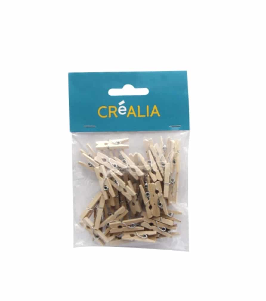 48 mini pinces à linge déco 2,5 cm - bois - Créalia