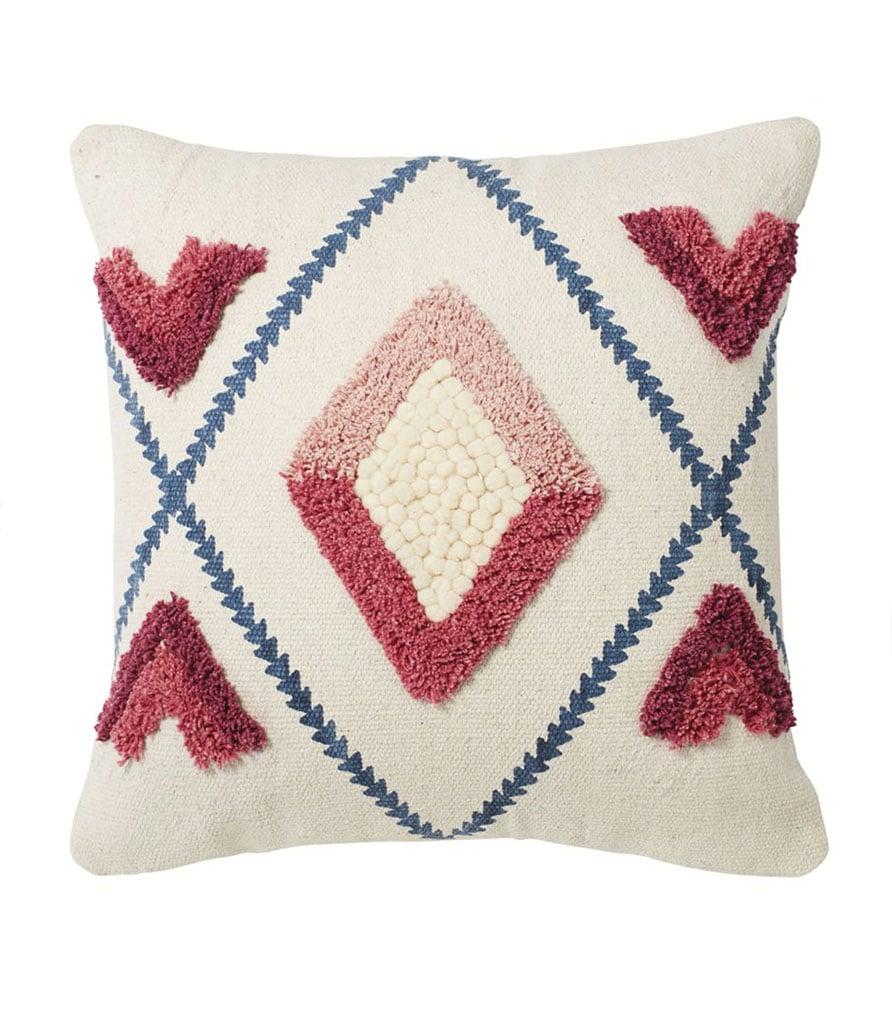 CLARA - Coussin en coton écru motifs tuftés roses et bleus