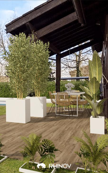 terrasse zen en bois et pierre