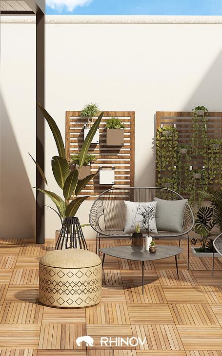 materiaux terrasse zen bois et paille