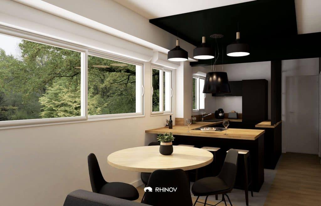 cuisine ouverte avec contrastes
