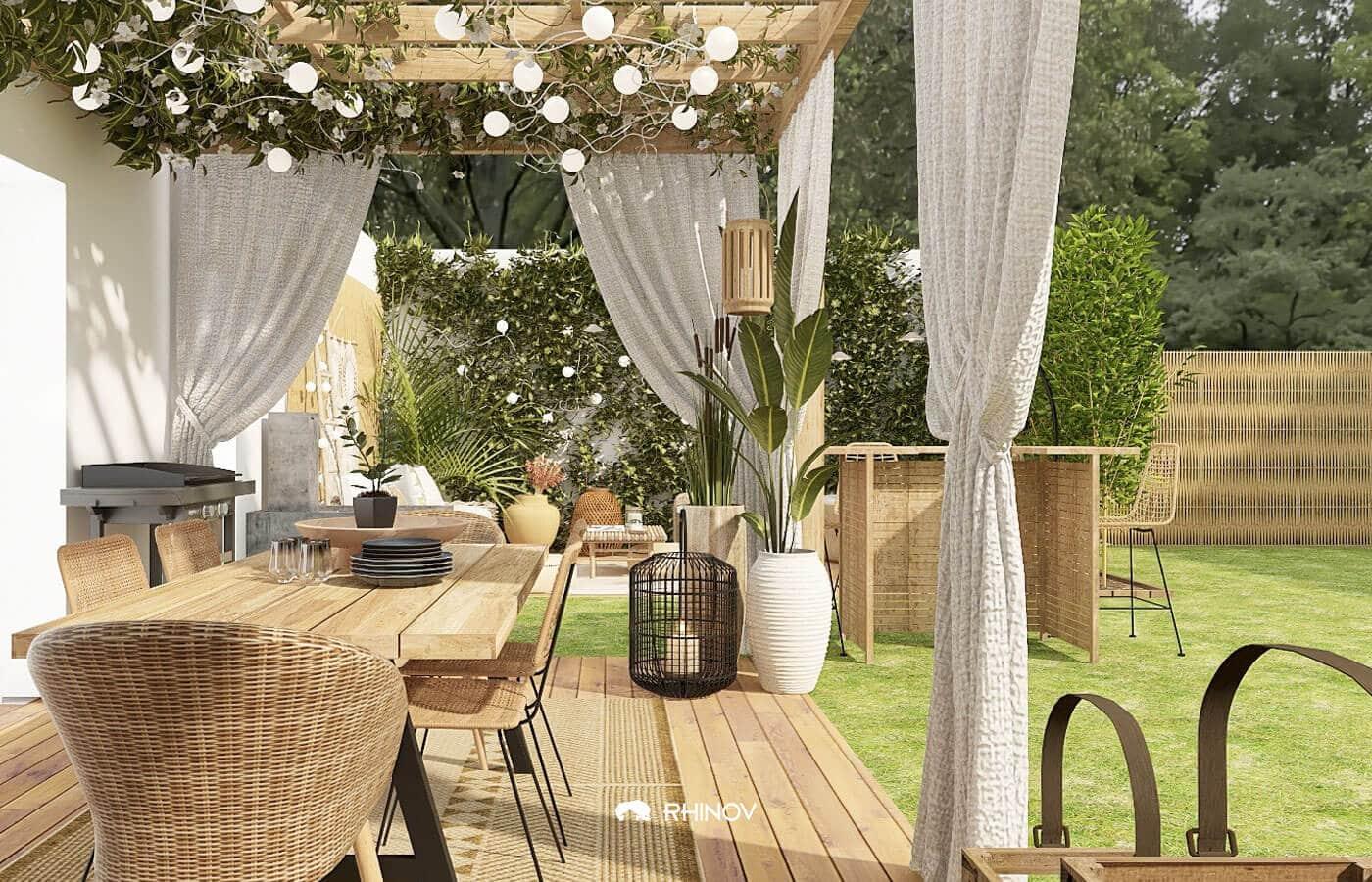 rideaux déco terrasse couverte