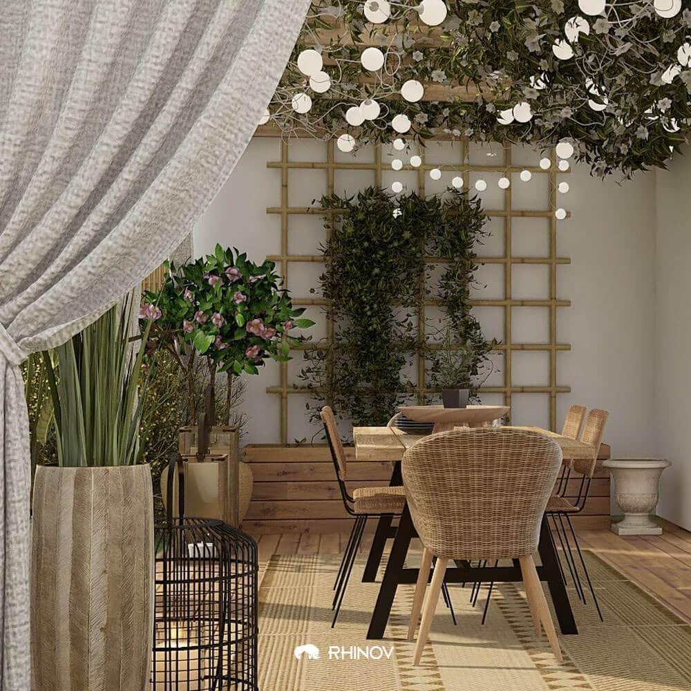 terrasse charme treille végétale