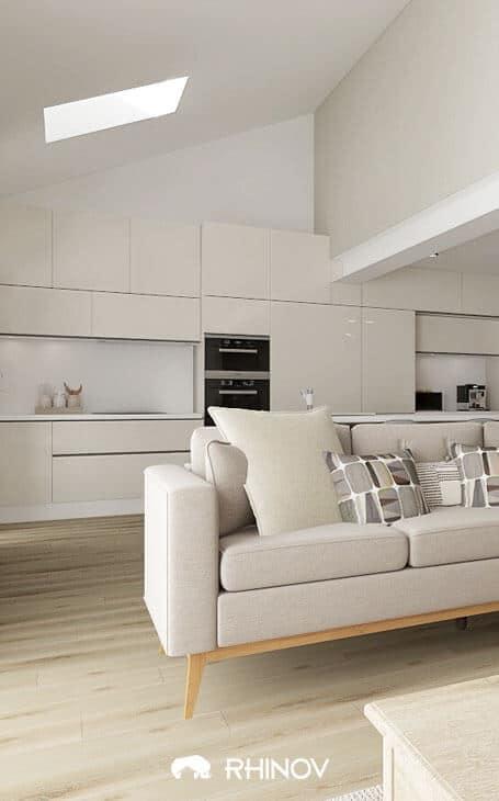 une cuisine ouverte sur salon blanche