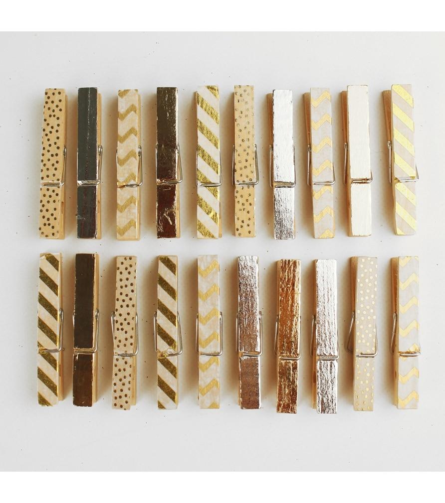 Pince à linge en bois doré et argenté
