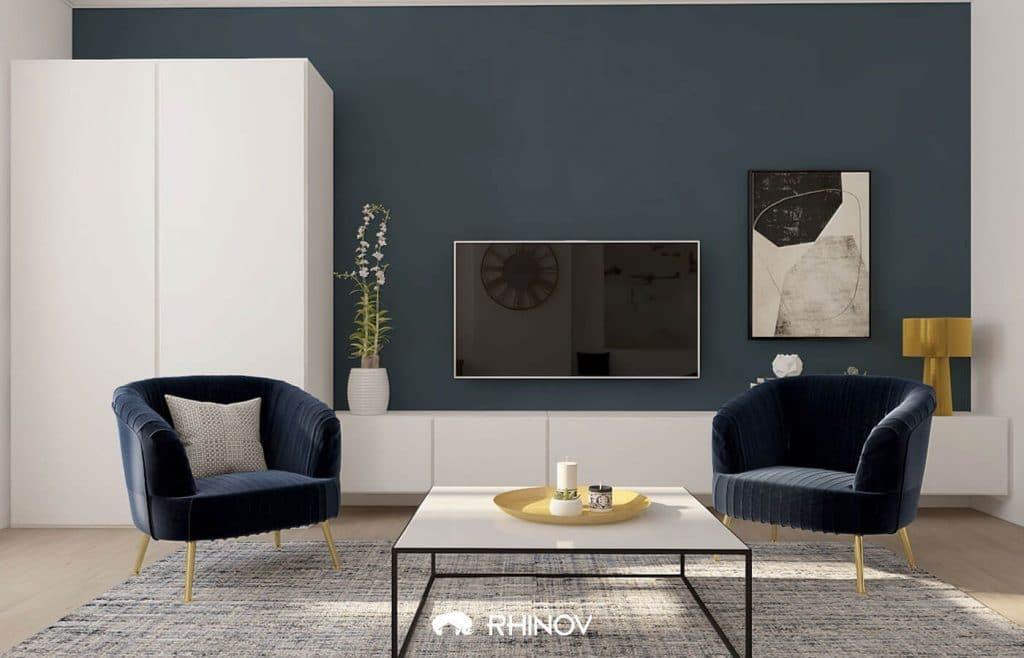 mur gris bleu dans le salon