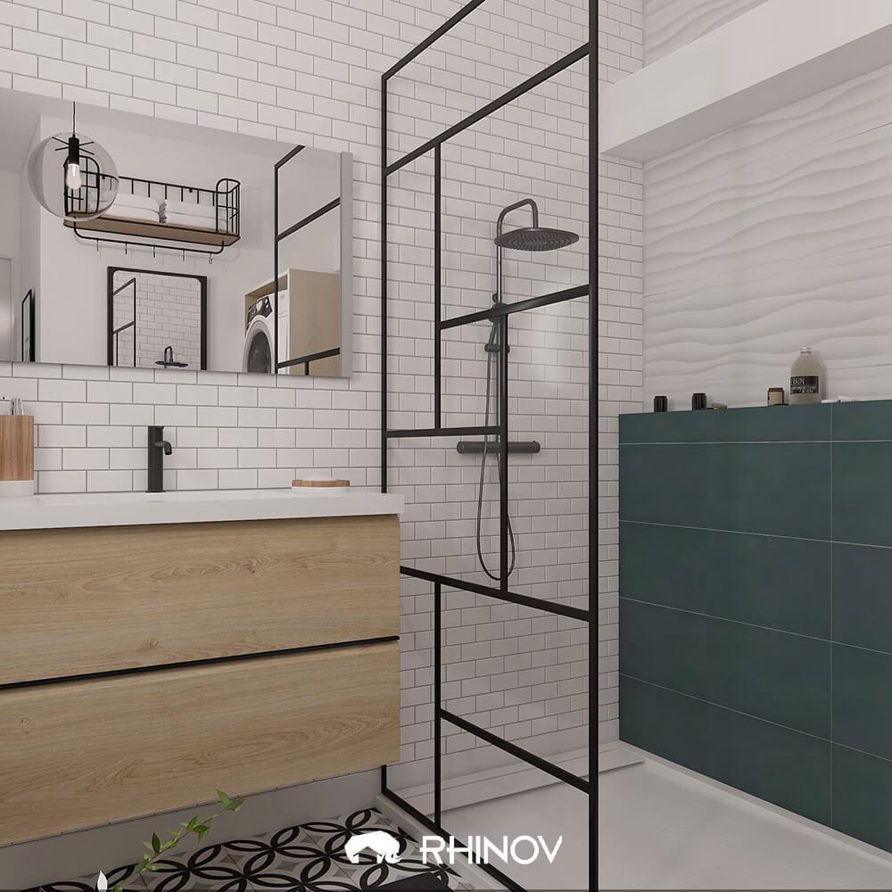 carreaux de ciment salle de bain industrielle