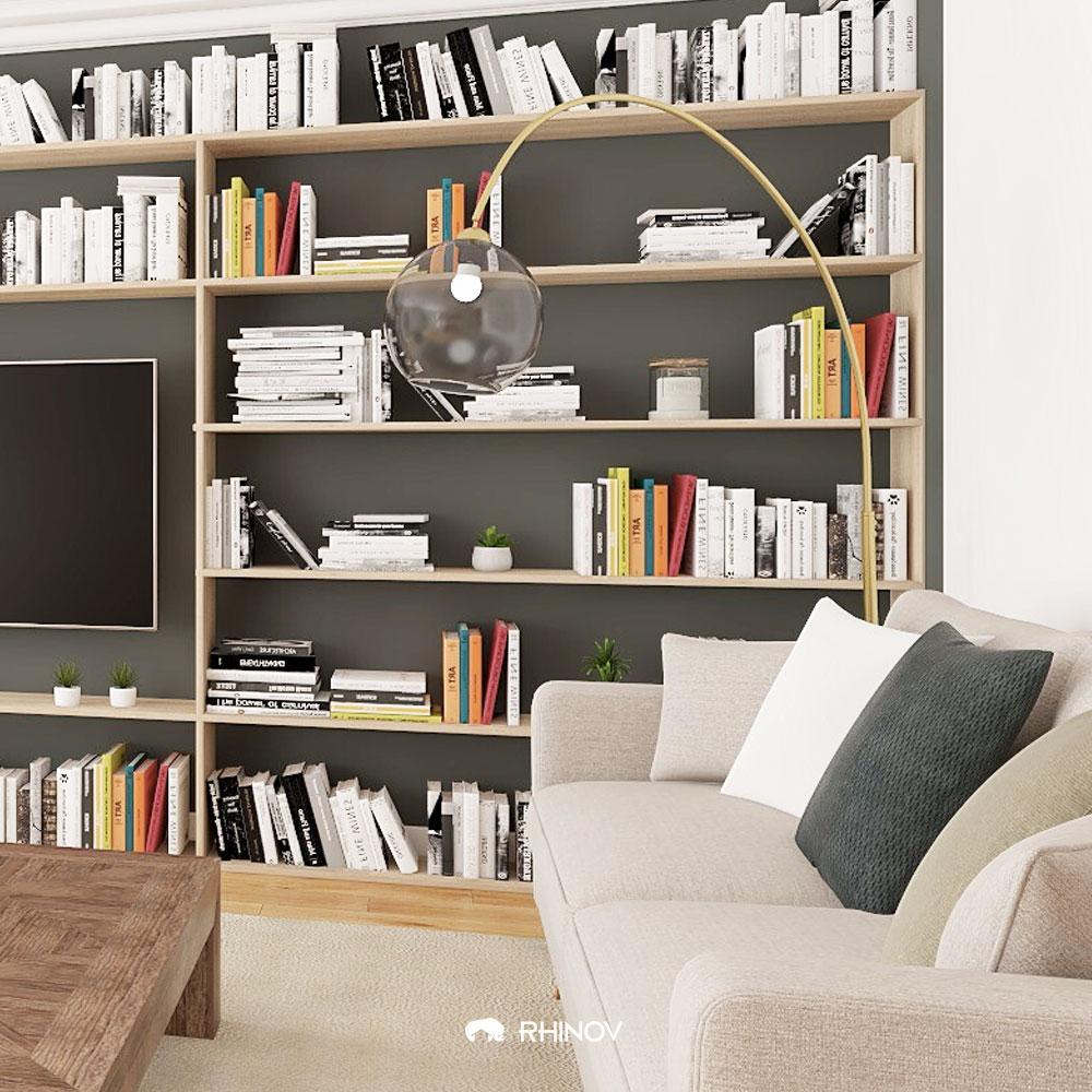 aménagement séjour : une bibliothèque