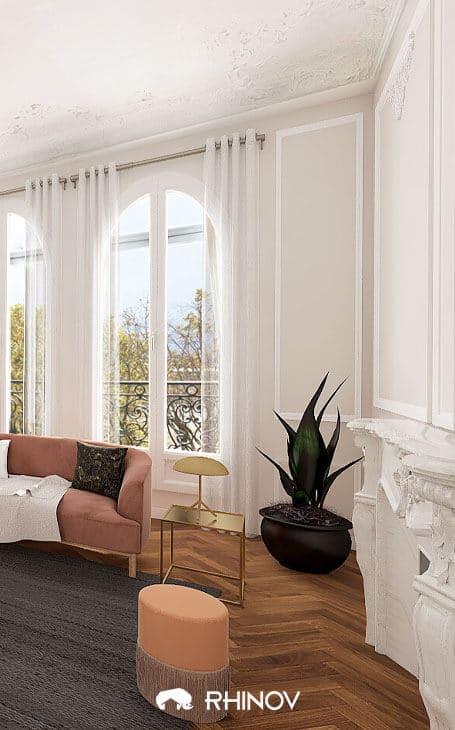 décoration haussmannienne art déco rose