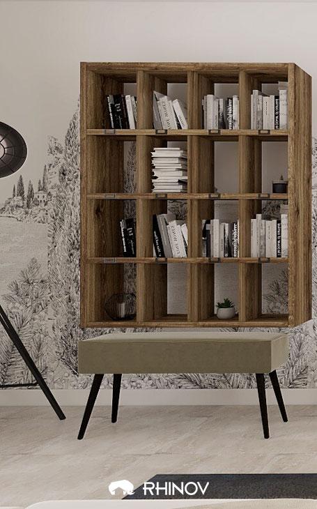 une bibliothèque en bois