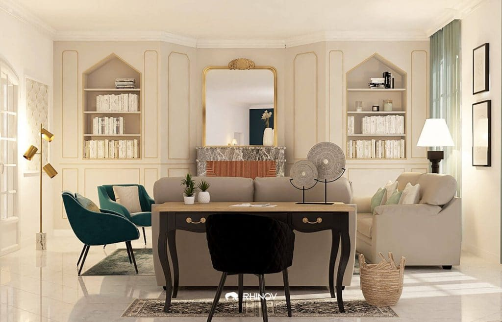 maison style victorien salon décoré