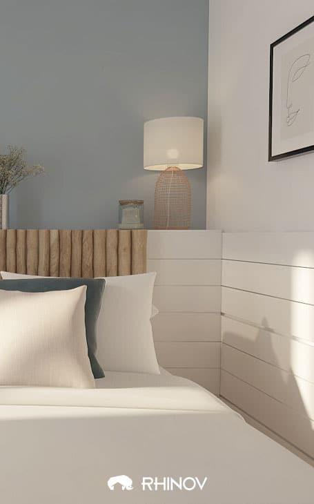 mur gris bleu chambre bord de mer