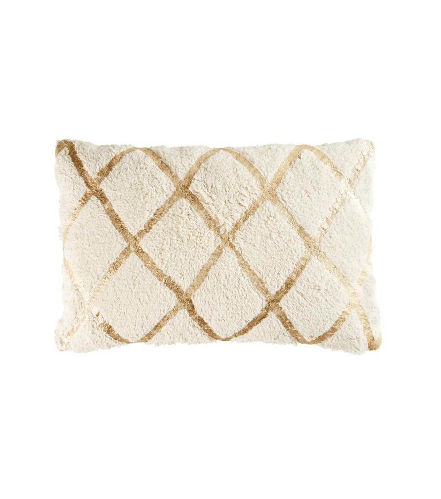 JACALA- Coussin en coton blanc motifs graphiques dorés 40x60