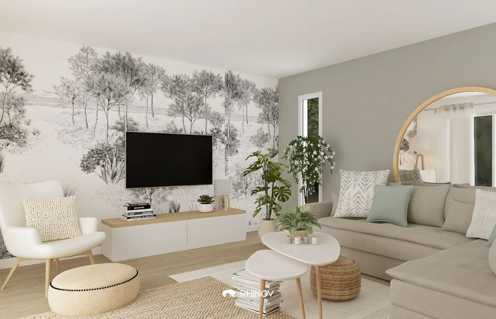modification décoration salon nordique
