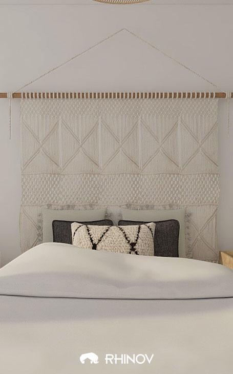 décoration chambre ethnique macramé lit