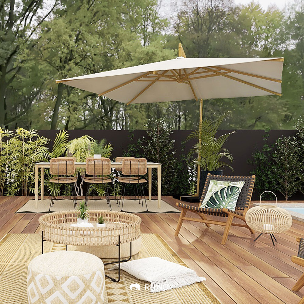 un aménagement terrasse devant maison avec espace repas