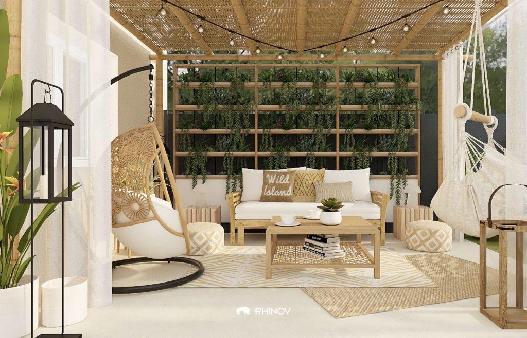 aménagement terrasse avec rideaux, pergola en bois et vegetaux