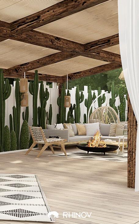 aménagement terrasse devant maison des brises vue en bois et végétation