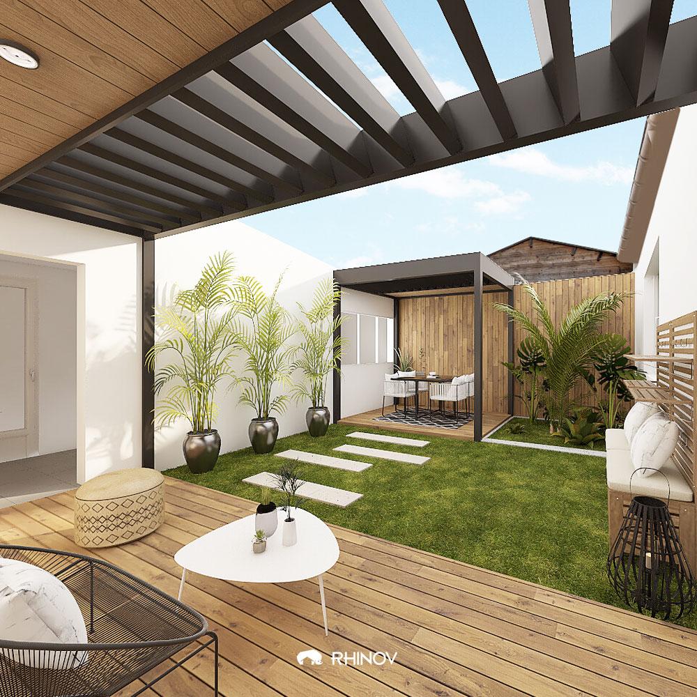 aménagement terrasse devant maison un chemin dessiné